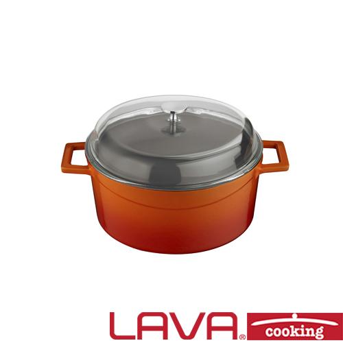 Stoofpan glazen deksel 20cm oranje LAVA cooking