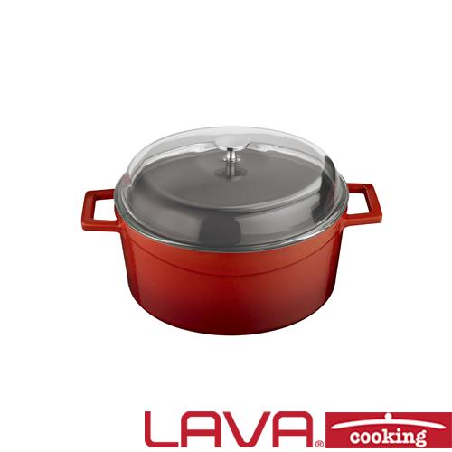 Stoofpan glazen deksel 20cm rood LAVA cooking