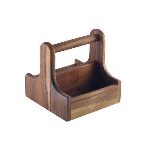 Tafelcaddy tafelmenage afm 15x15cm draagbaar hout acacia