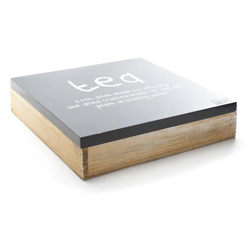 Theedoos afm 26.5x26.5cm 9 vaks hout zwart naturel