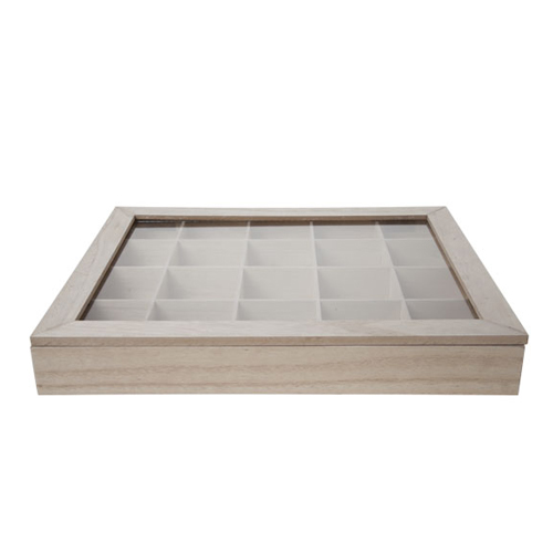 Theedoos afm 43x36cm 20 vaks hout glas natuur