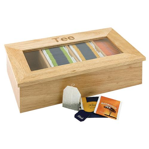 Theedoos afm 33.5x20cm 4 vaks licht hout glas tee