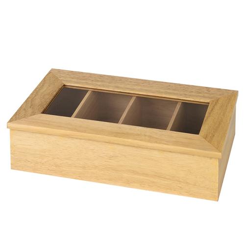Theedoos afm 33.5x20cm 4 vaks licht hout glas