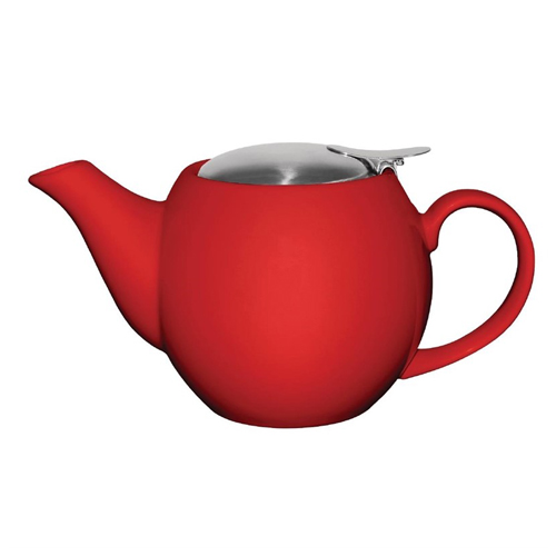 Theepot inh 51cl porselein staal rood