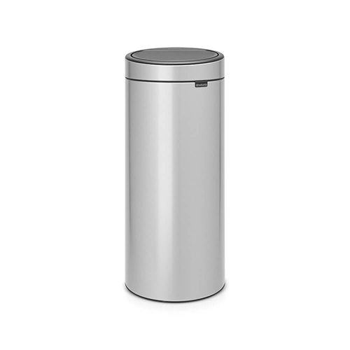 brabantia touch bin 30 liter glans staal metallic grey