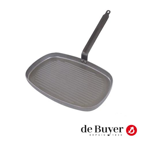 Grillpan de Buyer 38x26cm geribbeld plaatstaal alle warmtebronnen