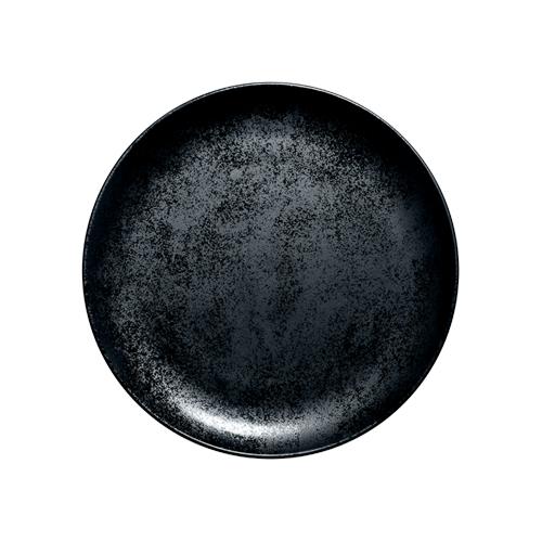 Coupebord plat diam 24cm Carbon Zwart Karbon Rak Porcelain