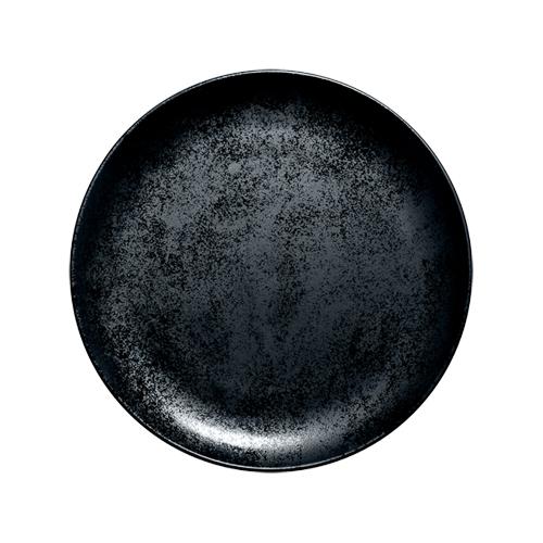 Coupebord plat diam 27cm Carbon Zwart Karbon Rak Porcelain