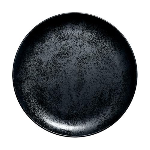 Coupebord plat diam 28cm Carbon Zwart Karbon Rak Porcelain