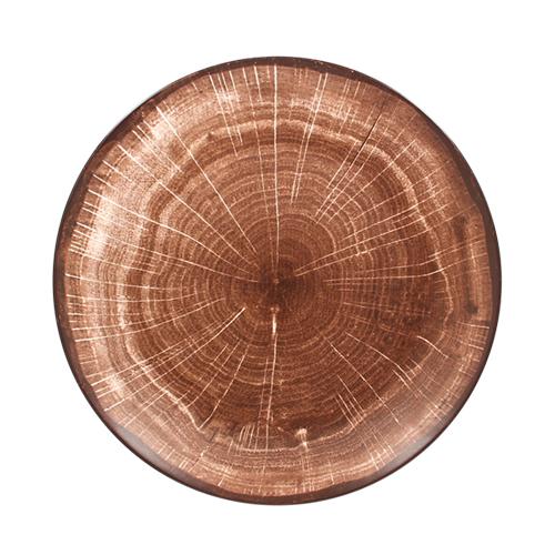 Coupebord plat diam 21cm Oak Brown bruin Woodart Rak Porcelain