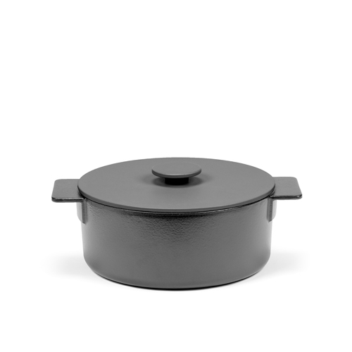 Pot diam 26cm Enamel Cast Iron Black surface by sergio herman serax
