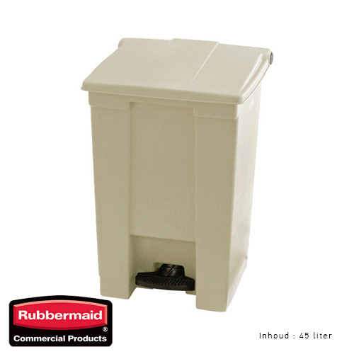 Rubbermaid step on classic afvalcontainer beige 45liter