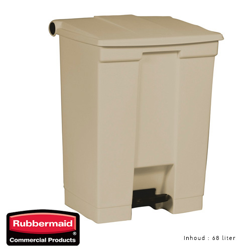 Rubbermaid step on classic afvalcontainer beige 68liter