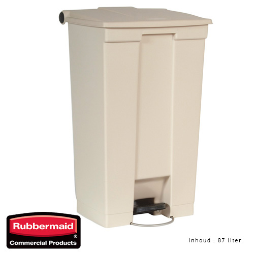 Rubbermaid step on classic afvalcontainer beige 87liter