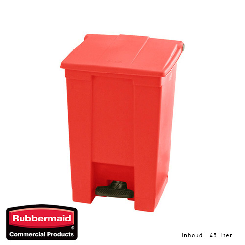 Rubbermaid step on classic afvalcontainer rood 45liter