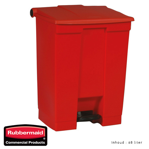Rubbermaid step on classic afvalcontainer rood 68liter