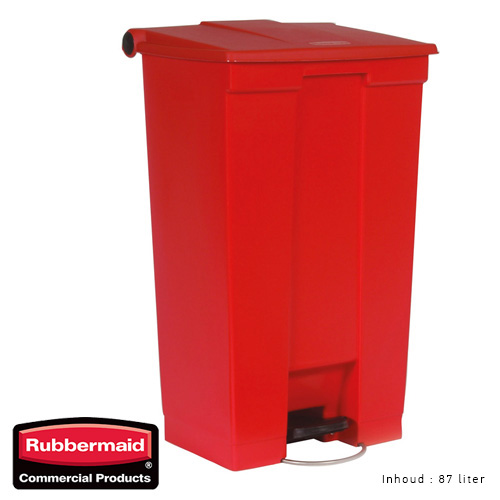 Rubbermaid step on classic afvalcontainer rood 87liter