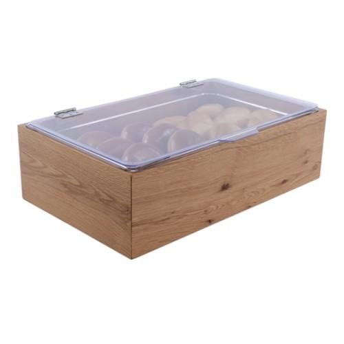 Broodbak fruitkist eiken hout GN gastronorm 1 1 150mm inzetbak klapdeksel