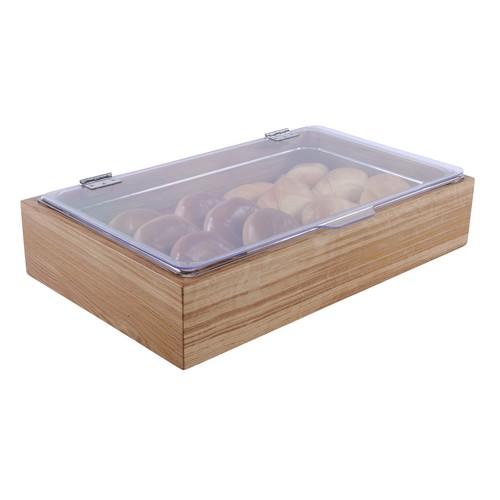 Broodbak fruitkist eiken hout GN gastronorm 1 1 inzetbak klapdeksel