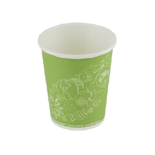 52.0049 FSC karton PLA koffiebeker 7oz 210ml  180ml diam 73mm Leaf Green