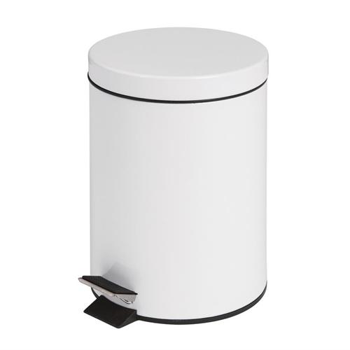 Pedaalemmer rond 5 liter wit