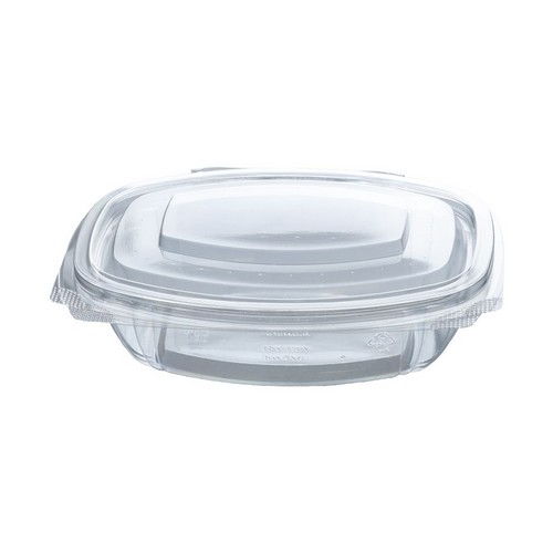 52.0071 PLA saladebakje met klapdeksel 375ml 16.1x13xH4.2cm