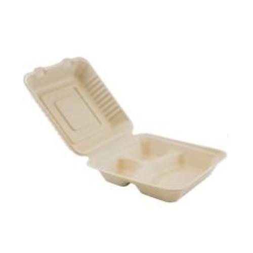 52.0080 Suikerriet menubox 3 vaks afm 20x22xH7cm 1000ml bruin open