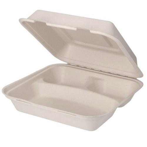 52.0081 Suikerriet menubox 3 vaks afm 25x25xH8cm 1500ml bruin open