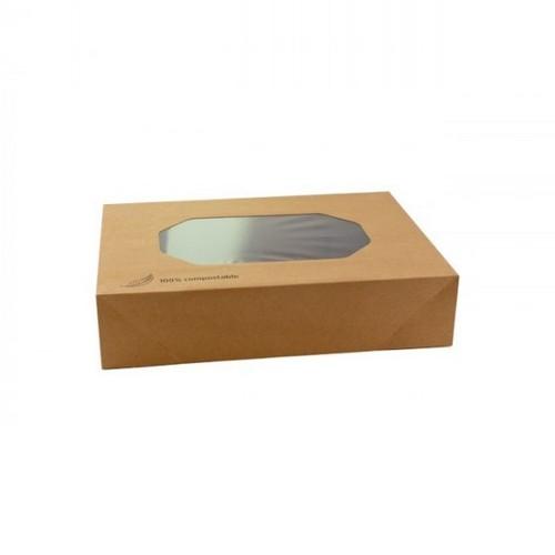 52.0091 Kraft cateringdoos met PLA venster afm 36x25xH8cm