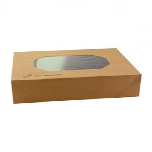 52.0094 Kraft cateringdoos met PLA venster afm 56x38xH8cm