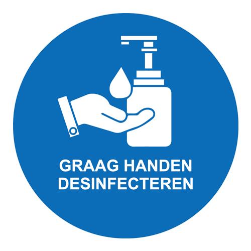 Graag handen desinfecteren blauw vinyl plaat