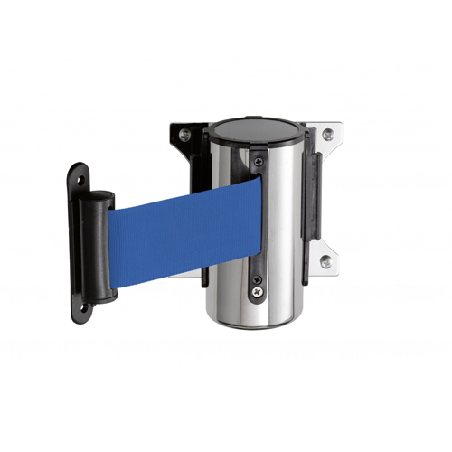 Afzetband v wandmontage chroom trekband 300cm blauw