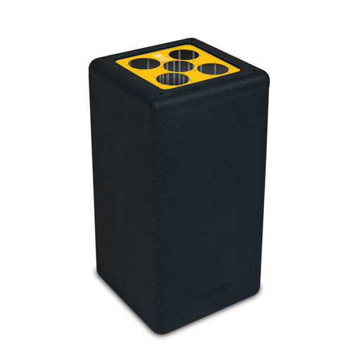 Afvalbak circulaire inh 65l cups zwart brickbin