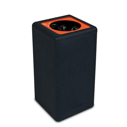 Afvalbak circulaire inh 65l plastic zwart brickbin