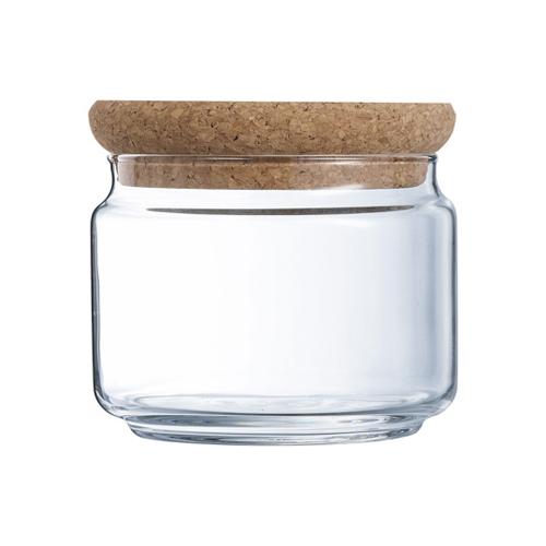 Glazen voorraadpot met kurk 0.5l