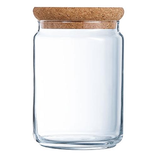 Glazen voorraadpot met kurk 1.0l